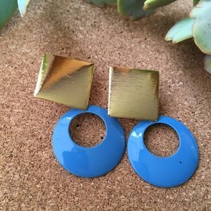 VTG Door Knocker Earrings Brushed Gold & Blue